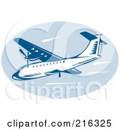 Royalty Free RF Clipart Illustration Of A Retro Blue Airliner Logo