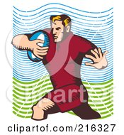 Royalty Free RF Clipart Illustration Of A Rugby Football Player 30
