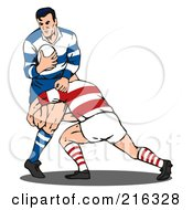 Royalty Free RF Clipart Illustration Of Rugby Football Players In Action 5