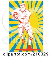 Royalty Free RF Clipart Illustration Of A Rugby Football Player 60
