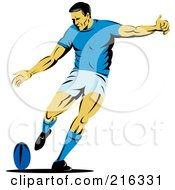 Royalty Free RF Clipart Illustration Of A Rugby Football Player 17