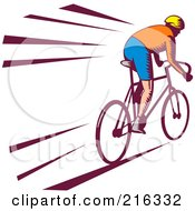 Royalty Free RF Clipart Illustration Of A Retro Cyclist Going Fast