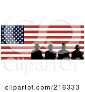 Royalty Free RF Clipart Illustration Of Silhouetted Soldiers And American Flag 1