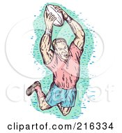 Royalty Free RF Clipart Illustration Of A Rugby Football Player 55