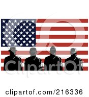 Royalty Free RF Clipart Illustration Of Silhouetted Soldiers And American Flag 2