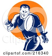 Royalty Free RF Clipart Illustration Of A Rugby Football Player 44
