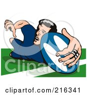 Royalty Free RF Clipart Illustration Of A Rugby Football Player 35