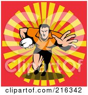 Royalty Free RF Clipart Illustration Of A Rugby Football Player 40
