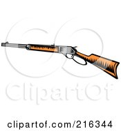 Royalty Free RF Clipart Illustration Of A Retro Woodcut Rifle