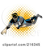 Royalty Free RF Clipart Illustration Of A Rugby Football Player 66