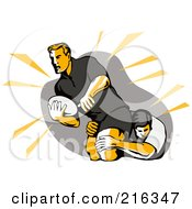 Royalty Free RF Clipart Illustration Of Rugby Football Players In Action 1