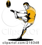 Royalty Free RF Clipart Illustration Of A Rugby Football Player 5