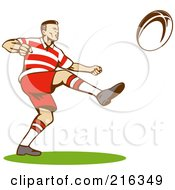 Royalty Free RF Clipart Illustration Of A Rugby Football Player 10
