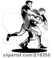 Royalty Free RF Clipart Illustration Of Rugby Football Players In Action 6