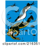 Royalty Free RF Clipart Illustration Of A Paratrooper Falling And Releasing His Parachute