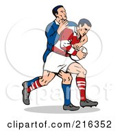 Royalty Free RF Clipart Illustration Of Rugby Football Players In Action 3