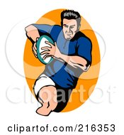 Royalty Free RF Clipart Illustration Of A Rugby Football Player 34