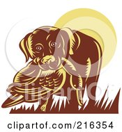 Royalty Free RF Clipart Illustration Of A Retro Dog Retrieving A Duck by patrimonio