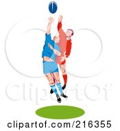 Royalty Free RF Clipart Illustration Of Rugby Football Players In Action 11