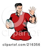 Royalty Free RF Clipart Illustration Of A Rugby Football Player 69
