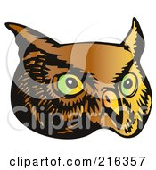 Royalty Free RF Clipart Illustration Of An Owl Face 2