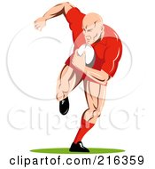Royalty Free RF Clipart Illustration Of A Rugby Football Player 62