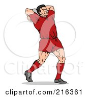 Royalty Free RF Clipart Illustration Of A Rugby Football Player 3