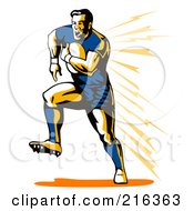 Royalty Free RF Clipart Illustration Of A Rugby Football Player 16