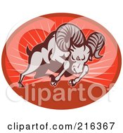 Royalty Free RF Clipart Illustration Of A Charging Ram On A Red Oval