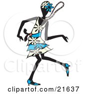 Clipart Picture Illustration Of A Dancing Flapper Woman In A White And Blue Dress Floral Hat And Heels Moving On The Dance Floor With Her Necklace Flying Around Her Neck