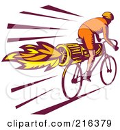 Royalty Free RF Clipart Illustration Of A Retro Cyclist Riding A Rocket Bike by patrimonio