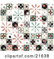 Clipart Picture Illustration Of A Background Of Colorful Retro Patchwork With Flowers Diamonds And Circle Patterns