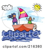 Royalty Free RF Clipart Illustration Of A Childs Sketch Of Boys Sailing A Boat by Prawny