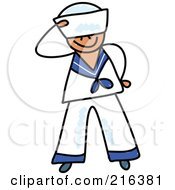 Royalty Free RF Clipart Illustration Of A Childs Sketch Of A Sailor Boy