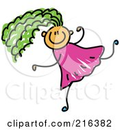 Royalty Free RF Clipart Illustration Of A Childs Sketch Of A Girl With Green Hair Running by Prawny