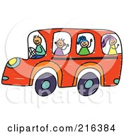 Royalty Free RF Clipart Illustration Of A Childs Sketch Of Children On An Orange School Bus