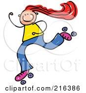 Royalty Free RF Clipart Illustration Of A Childs Sketch Of A Girl Roller Skating