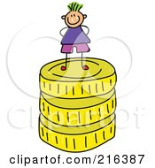 Royalty Free RF Clipart Illustration Of A Childs Sketch Of A Boy Standing On Golden Coins