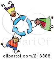 Royalty Free RF Clipart Illustration Of A Childs Sketch Of Children Holding On To Recycle Arrows