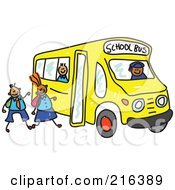 Royalty Free RF Clipart Illustration Of A Childs Sketch Of Children Boarding A School Bus