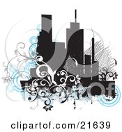 Clipart Illustration Of A Grunge City Background With Buildings Circles And Vines
