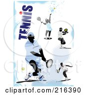 Royalty Free RF Clipart Illustration Of Tennis Athletes On A Grungy Blue And White Background With Text by leonid