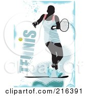 Royalty Free RF Clipart Illustration Of A Female Tennis Athlete On A Grungy Blue And White Background With Text by leonid