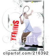 Royalty Free RF Clipart Illustration Of A Female Tennis Athlete On A Grungy Purple And White Background With Text by leonid