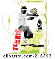 Royalty Free RF Clipart Illustration Of A Male Tennis Athlete On A Grungy Green And White Background With Text by leonid