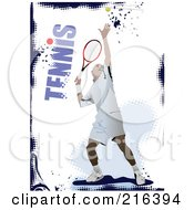 Royalty Free RF Clipart Illustration Of A Male Tennis Athlete On A Grungy Blue And White Background With Text by leonid