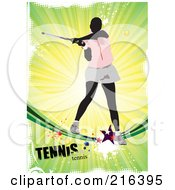 Royalty Free RF Clipart Illustration Of A Female Tennis Athlete On A Grungy Green Ray Background With Text by leonid