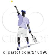 Royalty Free RF Clipart Illustration Of A Male Tennis Athlete In Action 2 by leonid