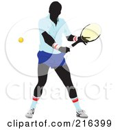 Royalty Free RF Clipart Illustration Of A Male Tennis Athlete In Action 1