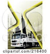 Royalty Free RF Clipart Illustration Of A White Big Rig With Navigation Lines And Skyscrapers by leonid